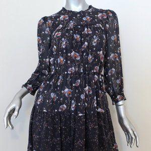 Ulla Johnson Dress Skye Navy Tiered Floral Print